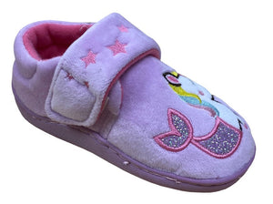 pink slippers with velcro strap and a unicorn mermaid