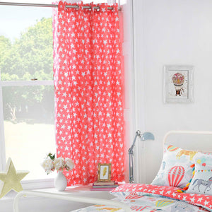 red pencil pleat curtains with a distressed white star pattern
