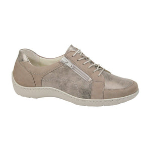 Metallic Beige Women's Laced Shoes for Orthotics