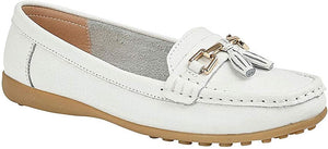 White Leather Ladies Loafers with a Tassel