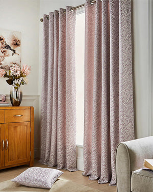 Willow Jacquard Mauve Eyelet Curtains 66 inches across x72 inches drop