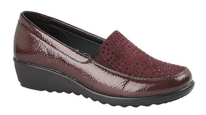 wine patent shoes with a wedge heel and diamante detailing