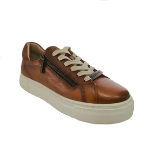 Stylish and chic cognac leather laced shoes from Bugatti with a thick, chunky, platform sole and zip detailing