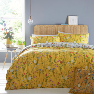 Fleura Yellow and Grey Reversible Bedding Set