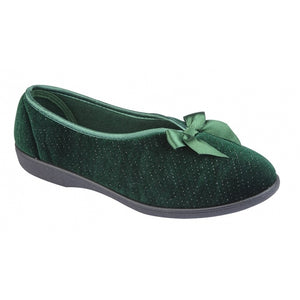Soft Green Ladies Slippers with a Bow Detail