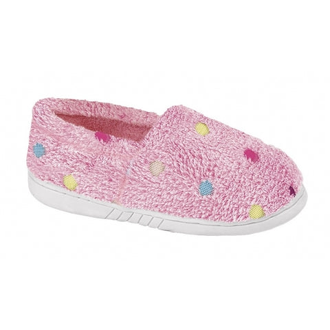 Fuzzy pink slip on slippers with multicoloured polka dots.