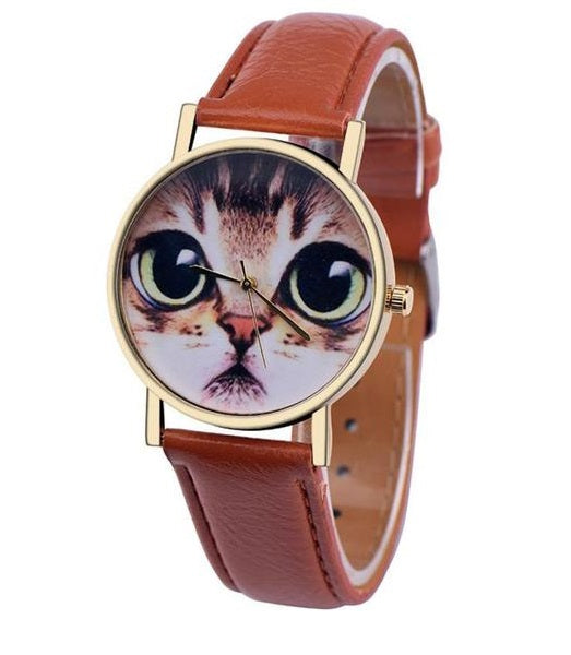 Cute Cat Watch With Quartz Movement & PU Leather Band