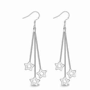 Elegant Silver Plated Tassel Drop Star Earrings