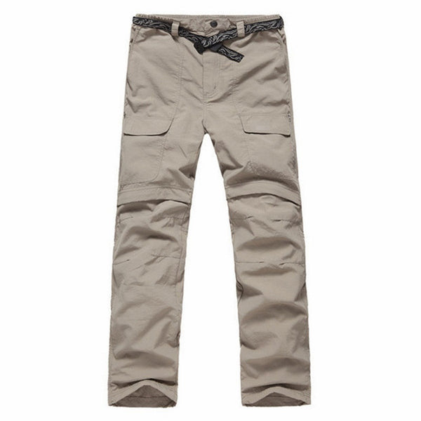 Mens Quick Dry Summer Travel Pants with UV Protection - Convert to Shorts by Unzipping Legs