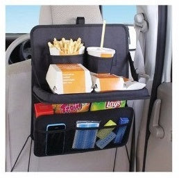 Auto Seat Back Organizer with Folding Food Tray, Drink Holder & Pockets - Waterproof Travel Storage