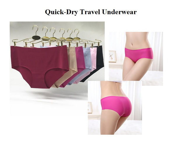 Quick Dry Travel Underwear Set of 6 Seamless Low-Rise Spandex Panties Great For Travel