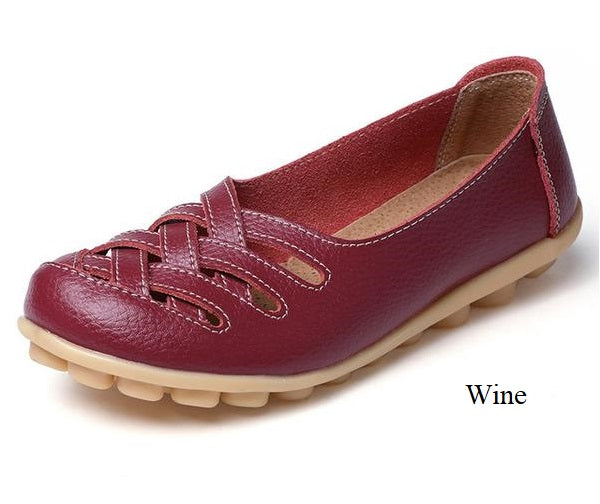 Genuine Leather Casual Crisscross Fashion Loafers
