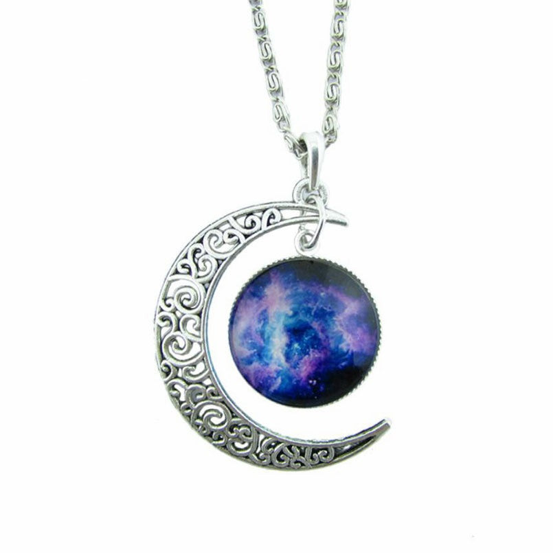 Antique Vintage Moon Pendant Necklace