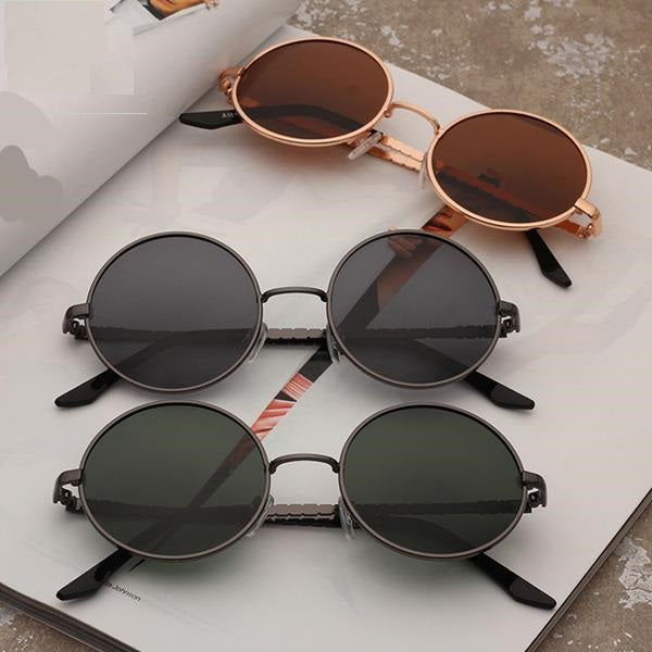 Polarized TAC Lens Fashion Sunglasses with a Classic Round Alloy Metal Frame for Men or Women