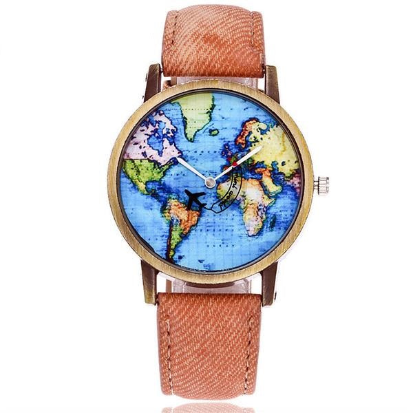 World Map Travel Watch with Plane
