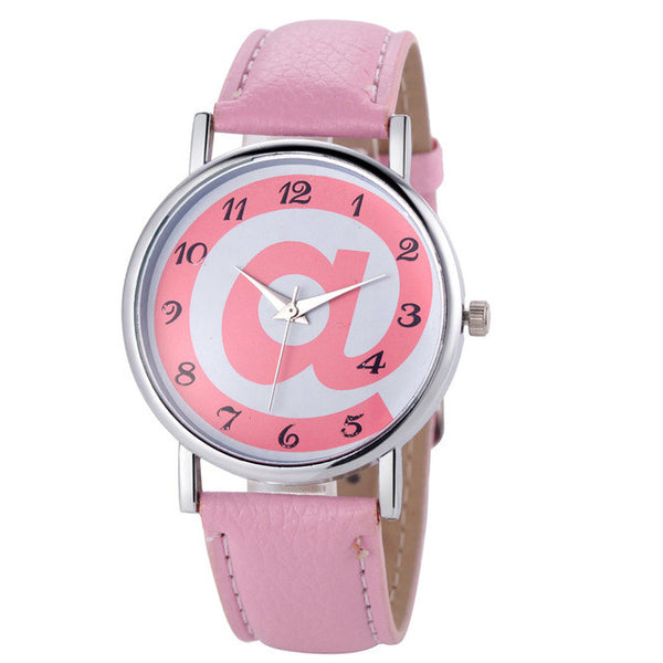 Womens Fashion Analog Quartz Watch With Leather Band