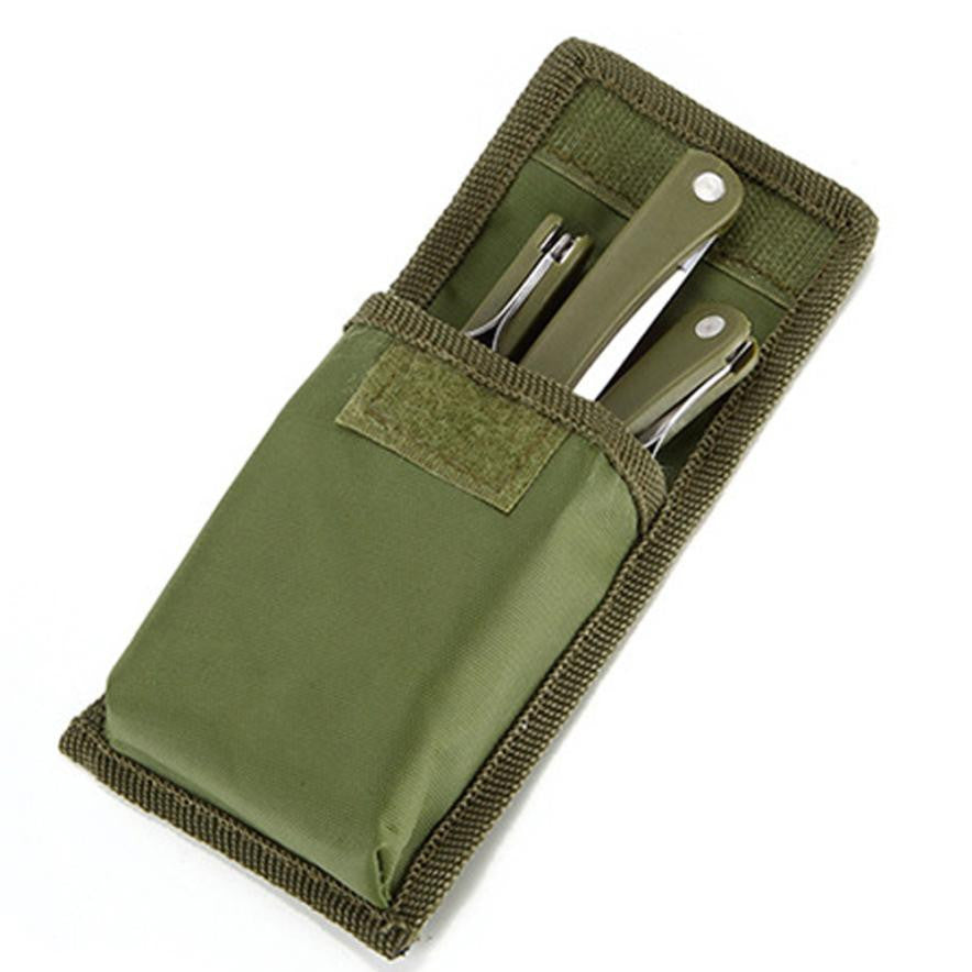 Lightweight Stainless Steel Folding Utensils Set In Pouch (Fork, Spoon & Knife) Outdoor Travel, Camping, Hiking, Etc.