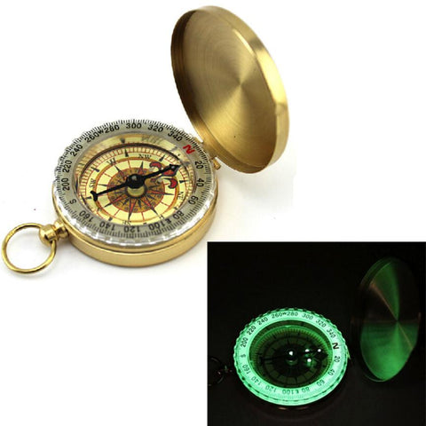Easy Read Lightweight Brass Noctilucent Navigation Compass Use As A Key Chain or Pocket Tool