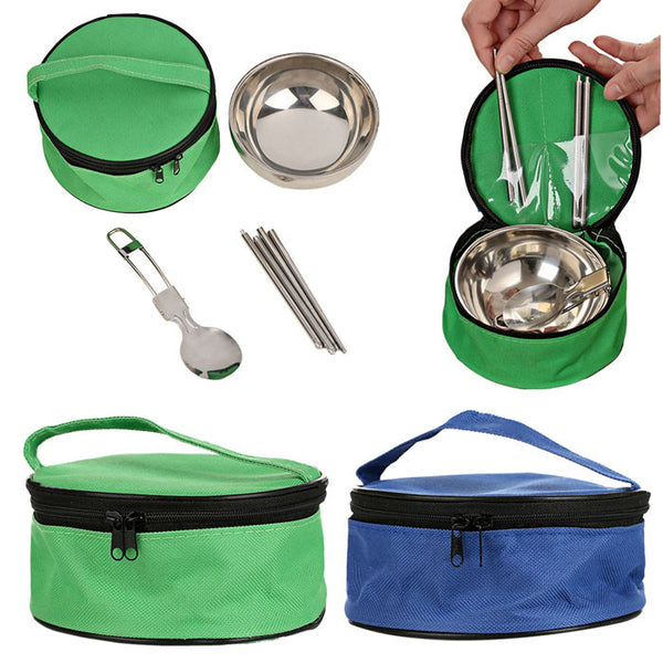 3-in-1 Travel Tableware Cutlery Set with Stainless Steel Bowl, Spoon & Folding Chopsticks.