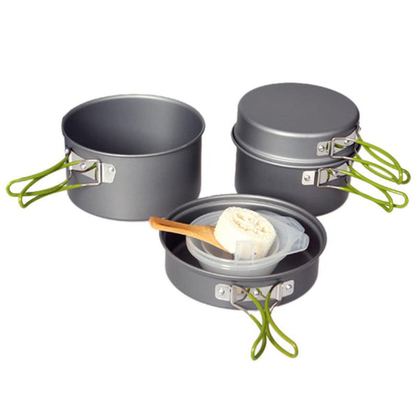 Non-Stick Aluminum Alloy 9 Pc. Cookware Set for Camping-All Nestled Together in a Convenient Bag!