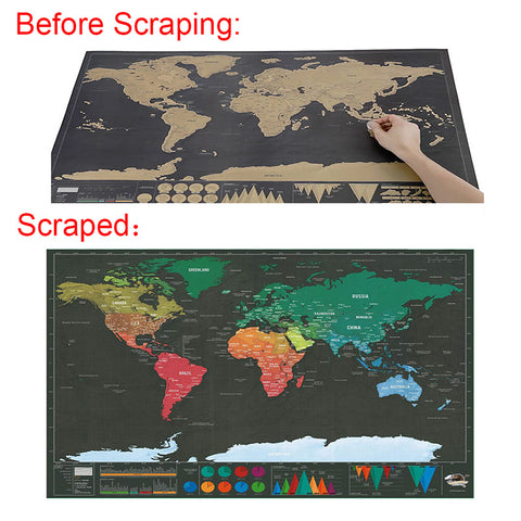 Deluxe Scratch-off World Map Poster & Vacation Log - Available in 2 Sizes
