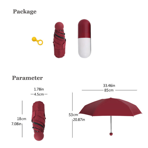 Windproof Pocket Size Mini Capsule Umbrella - It's Amazingly Compact!