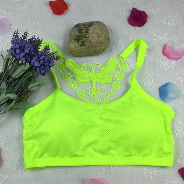 Womens Padded Sports Bra/Crop Top Tank with Butterfly Racerback