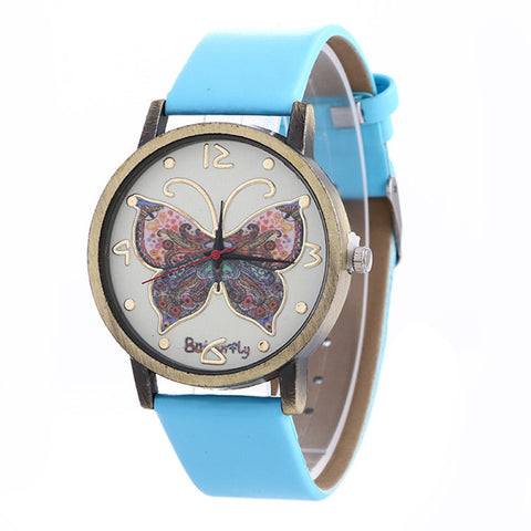 Womens Butterfly Watch With Leather Band