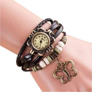 Ladies Quartz Butterfly & Leather Multi-Strap Bracelet Wrist Watch