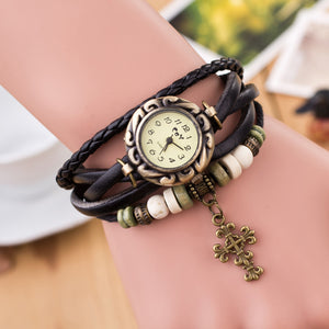 Ladies Quartz Cross & Leather Multi-Strap Bracelet Wrist Watch