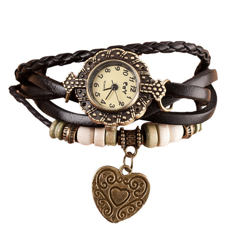 Ladies Quartz Heart & Leather Multi-Strap Bracelet Wrist Watch