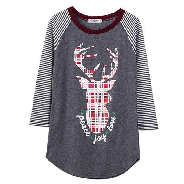 Gray Christmas Reindeer Print & Striped Round Neck T-Shirt