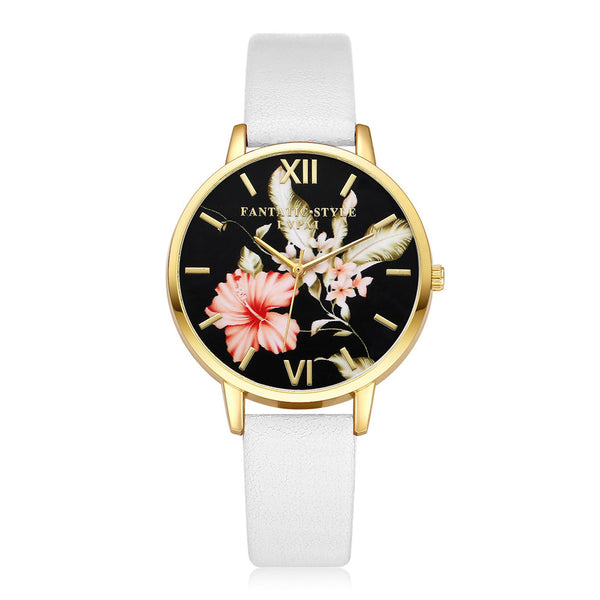 Easy Read Hibiscus Watch For Women With PU Leather Band