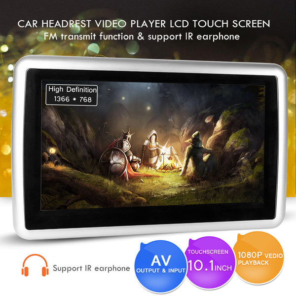 10.1 inch 1080P LCD Touch Screen DVD Player with Car Headrest Mount