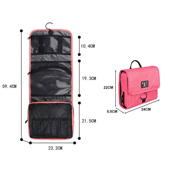 Waterproof Travel Toiletry Bag or Cosmetic Packing Organizer With Hanger