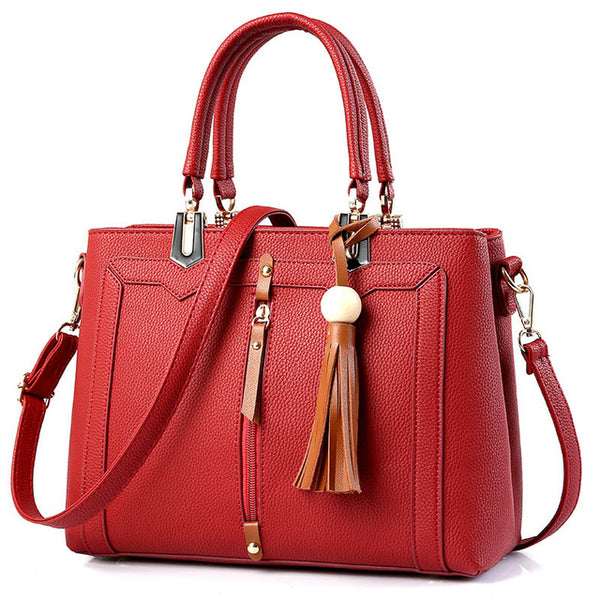 Famous Luxury Brand Leather Handbag/Cross Body Shoulder Bag With Decorative Tassel