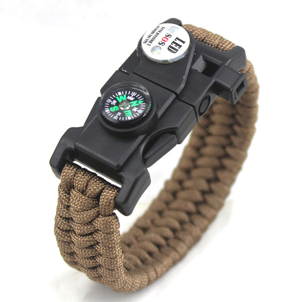 Outdoor Survival Paracord Bracelet with Compass, Magnesium Striker, Whistle and more!