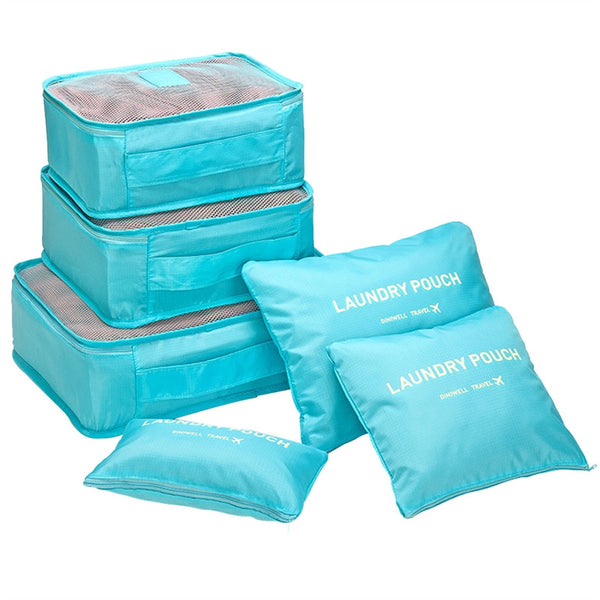 Space Saver Packing Cubes 6 Pcs. Durable Travel Organizers with Laundry Bags