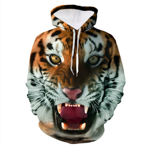 Mens Fashion 3D Tiger Printed Sweatshirt Hoodie