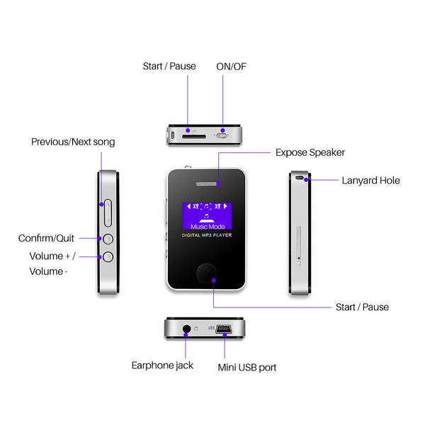 "Digital Mini MP3 Player with 1.1 "" Screen"