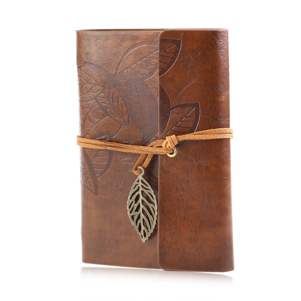 Vintage Leaf PU Leather Travel Journal Diary with Blank Jotter Pages