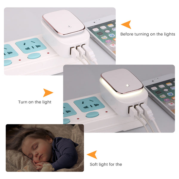 3-Port USB Travel Wall Charger & LED Night Light Plug Adapter. Charge Smartphone/Tablet/Camera/MP3