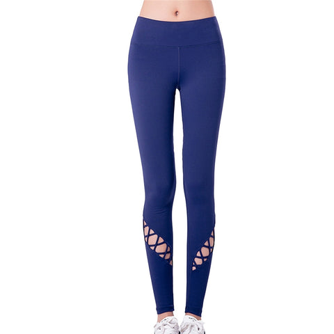 Quick-Dry Yoga Pants with a Cut Out Woven Design on Lower Leg - Tight Fitting & Breathable!