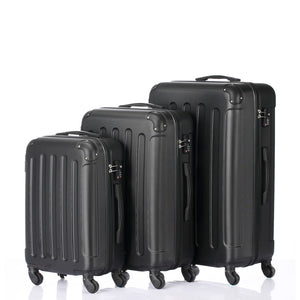 "3 Piece Black ABS Trolley Suitcases/Luggage Set 20""  24""  28"""