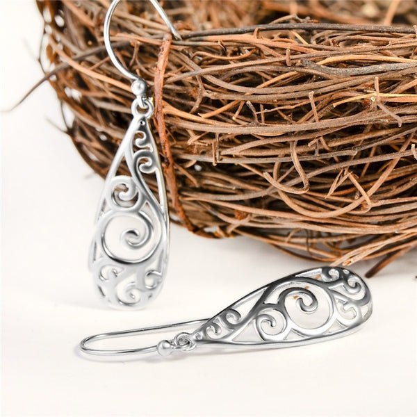 Bohemia Fashion Carved Scroll Water Drop Earrings