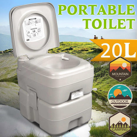 5 Gallon (20 L) Portable Camping Flush Toilet/Port-a-Potty For Outdoor Travel/RV/Boat/Camp/Hunt
