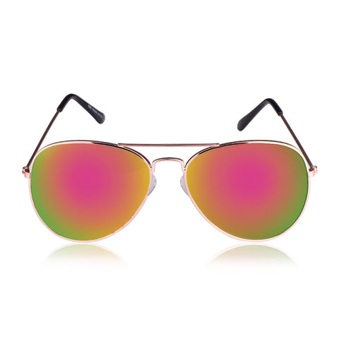 Unisex Mirrored Aviator Sunglasses with UV400 & Silver Metal Frames