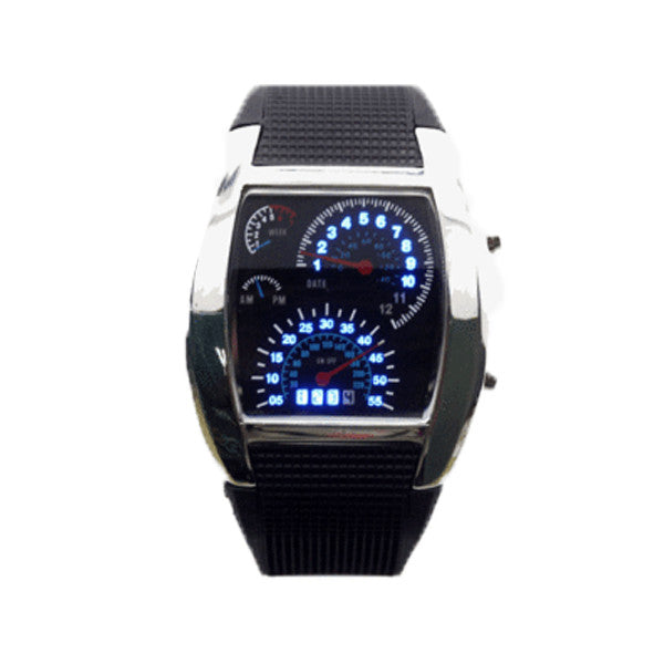Mens Digital LED Race Car Watch - Military Style