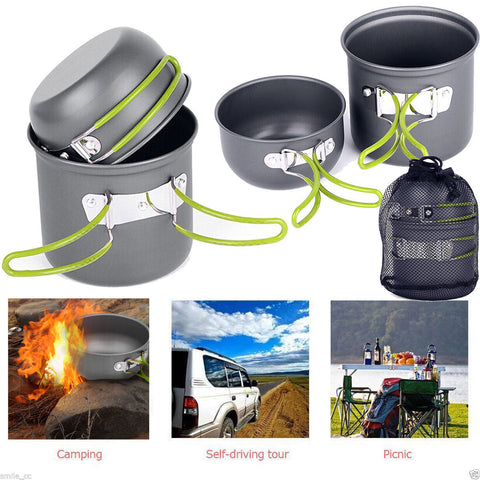 4 piece Outdoor Camping Cookware Set - Picnic Bowls or Pots and Pans
