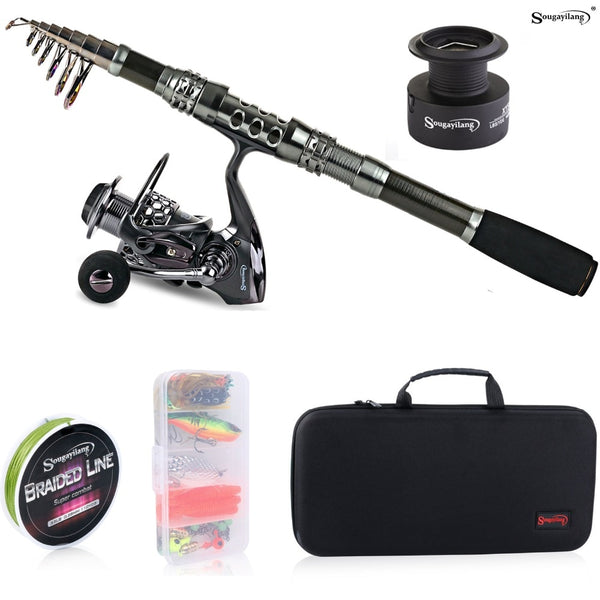 Telescopic Travel Fishing Rod, Spinning Reel, Lures, Line & Carry Case All-In-One Set